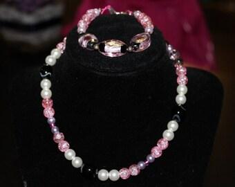 Pink Beaded Necklace and Bracelet Set