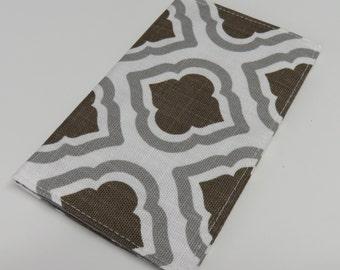 Checkbook Cover - Gray Brown Geometric Fabric