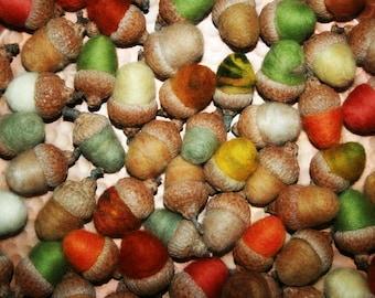 Acorns, Felted Acorns, Needle Felted Acorns, All Season Decor, Natural Acorn Caps-Eco Friendly - Ready To Ship - DOZEN!