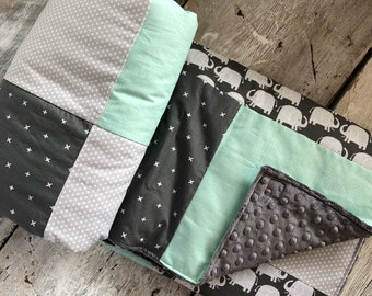 Baby crib blanket ,elephants baby blanket, quilt blanket, minky on the back side