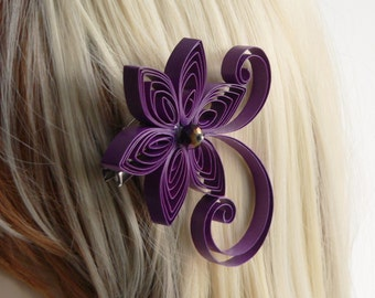Royal Purple Wedding Hair Flower, Royal Purple Wedding Hair Accessory, Purple Hairpiece