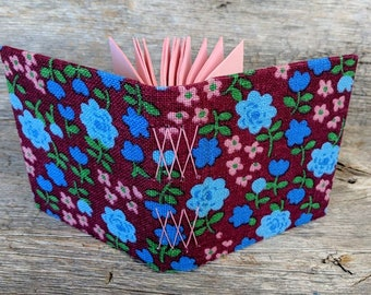 SALE + Free Shipping -- Handmade notebook with vintage fabric