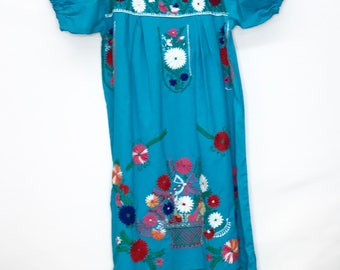 Ladies Blue Cotton Embroidered Mexican Dress SZ: M