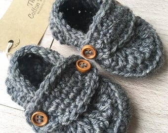 Organic Crochet Baby Loafers, Shoes. Baby Shower, Baptism, New Baby Gift