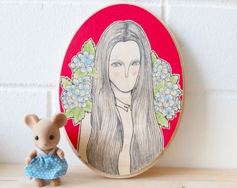 Oval Plaque - Hand Painted Illustration - Dame en Rouge