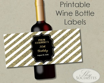 Black & Gold Glitter Printable Wine Label | Hostess Gift, Holiday Gift, Wedding Wine, Bottle Label | DIY Print at Home Digital File