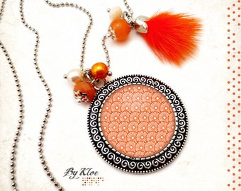 Necklace Cabochon necklace • Japanese • wave glass silvery white orange flowers