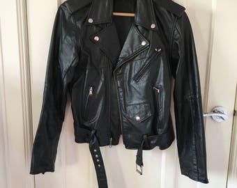 Womens vintage leather biker jacket size small