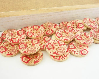 Wood Sewing Buttons, Bold, Red Flower with Veins (25mm 6pcs set)