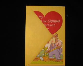 Vintage Valentine Day Card For Grandma and Grandpa  Valentine Card With Envelope  Grandma and Grandpa Greeting Card