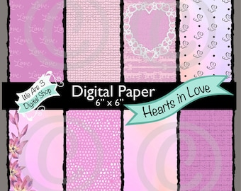 We Are 3 Digital Paper, Hearts in Love