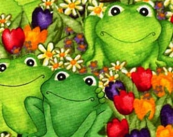 Greeting Frogs in the Garden  Quilt Cotton Fabric By the yard / Half yard
