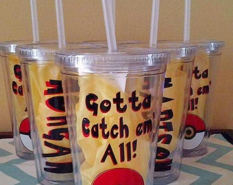 Pokemon Tumbler Party Favors. Pokemom Cups. Pokemon Party. Pokemon Gifts. Pokemon Insulated Cup. Pokemon Go Cup.