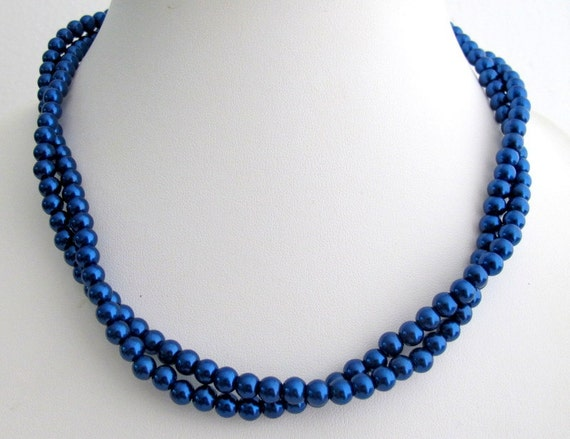 Dark Blue Pearl Necklace Navy Blue Pearl Necklace Bridesmaid Blue Jewelry, Flower Girl Necklace, Christmas Gift Free Shipping in USA