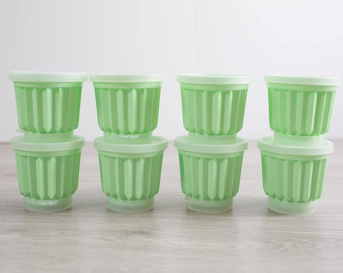 Vintage Jell-O Mold Set of 8 / Mint Green 1960's Kitsch Round Jello Maker