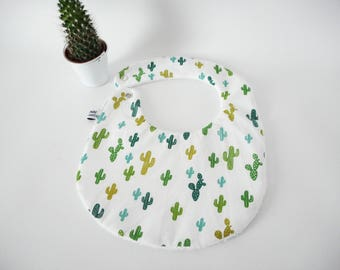 Bib size 0/6 months or 6-18 months, white printed fabric green cactus, white Terry cloth, snap, food baby, birthday gift