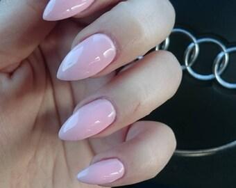 Baby Pink Fake Nails (CUSTOMIZABLE SHAPE & SIZE)