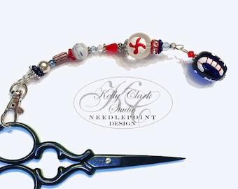 Navy Candy Cane Scissor Fob