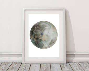 Moon art print, Lunar print, Crescent moon watercolor painting, Planets poster artwork, Astronomy gift, Bohemian decor, celestial art print