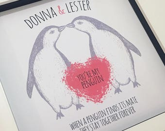 Valentine's gift personalized, Valentines gift for him, Valentines day gift, gift for her, penguin valentine, penguin gift