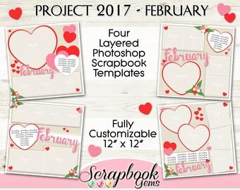 "PROJECT 2017 - FEBRUARY Scrapbook Templates, Four 12"" x 12"" Pocket Digital Scrapbook Layered Photo Templates, PSD Format valentine digiscrap"