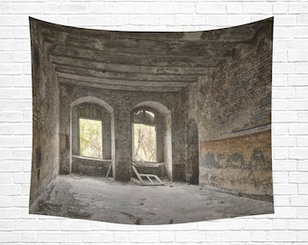 "Abandoned Building Wall Tapestry 60""x 51"""
