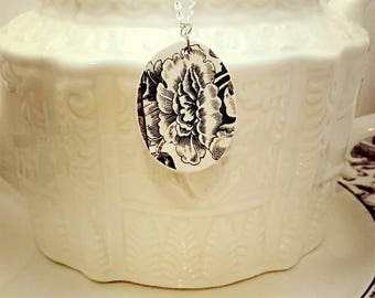 Broken china necklace. Broken China pendant. Broken China jewelry. Black rose.