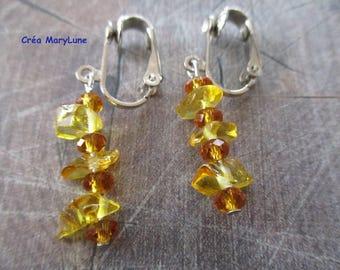 Clip earrings for non-pierced ears yellow