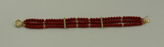 Italian Coral III Strand Bracelet 14K Yellow Gold Clasp,Diamond Bars & Gold Bead