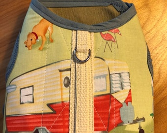 Happy Camper Small Dog Harness Made in USA, dog harness, dog harnesses, retro camper