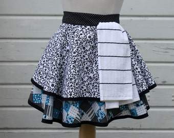 Woman's Half Apron with Kitchen Towel with Upper and Lower Skirts in Blue, Black and White Patchwork Print & White and Black Floral Print