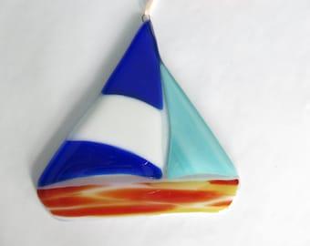 Fused glass sailboat, sun catcher