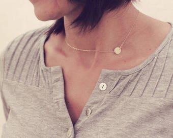 Dainty Sideways Initial Necklace / Personalized Initial Necklace Choker / Letter Necklace /Gold ,Sterling Silver, Rose Gold Initial Necklace