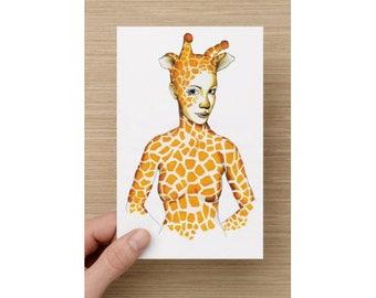 Card - Spirit Animal - Giraffe Princess - African Princess - Greeting Cards - Birthday Card