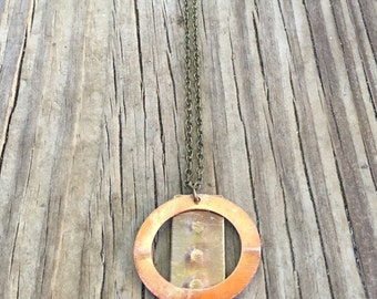 Copper and brass geometric necklace