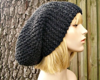 Knit Hat Womens Hat Slouchy Beanie - Slouchy Knit Hat in Charcoal Grey Knit Hat - Grey Hat Grey Beanie