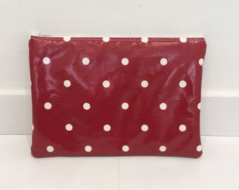 Red Polka Dot iPad Case / Tablet Case/ iPad Cover - Made from Oilcloth With White Spots - Can be customised to fit any tablet