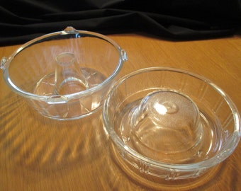 Vintage Glasbake, Set of 2 Clear Glass, Cake Pans, Angel Food Cake/Bundt Pan (#252) and Queen-Anne Cake Pan/Jello Mold. 1920's to 1940's