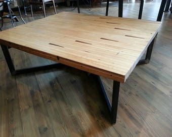 Vintage industrial salvaged bowling alley coffee table