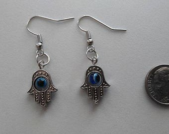 Bronze Hamsa Hand Earrings or  Corded Necklace