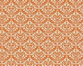 Eek Boo Shriek Damask Orange Halloween Fabric from Riley Blake, C6013 Orange  Sold By 1/2 Yard