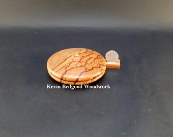 Box Lidded Container Marblewood clamshell low profile hand turned jewelry