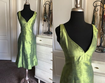 Vintage Olive Green Dupioni Silk Bombshell Fitted Dress S/M