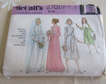 McCall's Wedding Dress Pattern #2701 Vintage 1970 Bridal Dress Sewing Pattern Size 14 Bridesmaid Dress Prom Dress Party Dress Hippie Costume