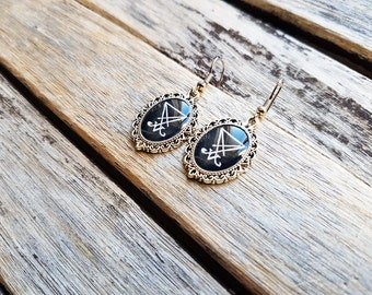 Sigil of Lucifer (Seal of Satan) Cameo - Sigil of Lucifer Dangle Earrings - Seal of Satan - Occult - Gothic - Witch - Esoteric -Dark - Magic