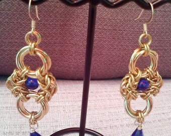 Byzantine and Rosette Chain Mail Chain Maille Earrings with Teardrop Crystal