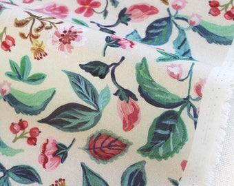 """1/2 YD-Nathalie Lete Design Fabric-cotton-""""Lovely garden"""" ivory Oxford Medium Weight Cotton"""