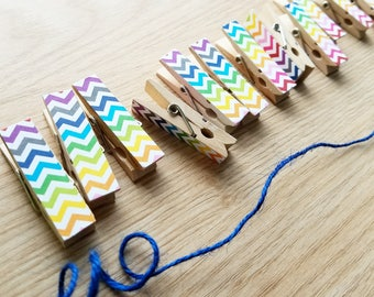 Mini Clothespins - Rainbow Chevron Zig Zag Clips w Twine for Photo Display - Chunky Little Wooden Clothespins - Set of 12 - Ready to Ship