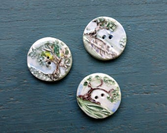 223:  Handmade Ceramic Button Set of Three