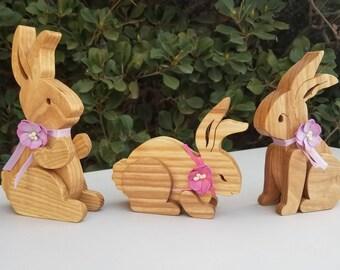 Set of three bunnies - Natural